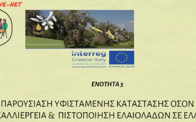 Ενότητα 3: Παρουσίαση υφιστάμενου πλαισίου και διαδικασιών πιστοποίησης ελαιολάδων σε Ελλάδα και Ιταλία