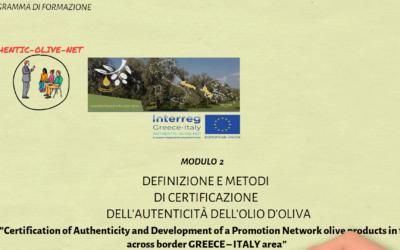 Modulo 2: Definizione e Metodi Di Certificazione Dell' Autenticita Dell' Olio D' Oliva